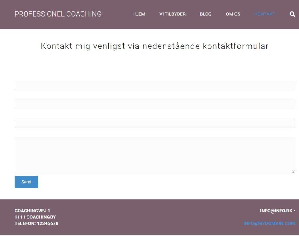 Coaching side - Kontakt